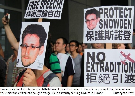 Hong Kong Protesters Call on Government to Protect Snowden
